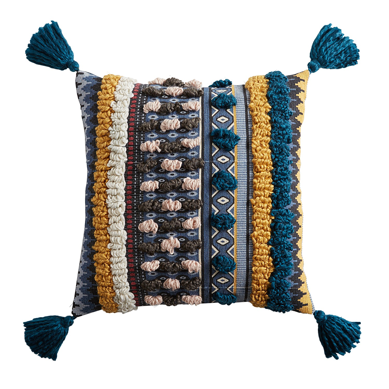 Tufted Teal & Yellow Pillow with Tassels