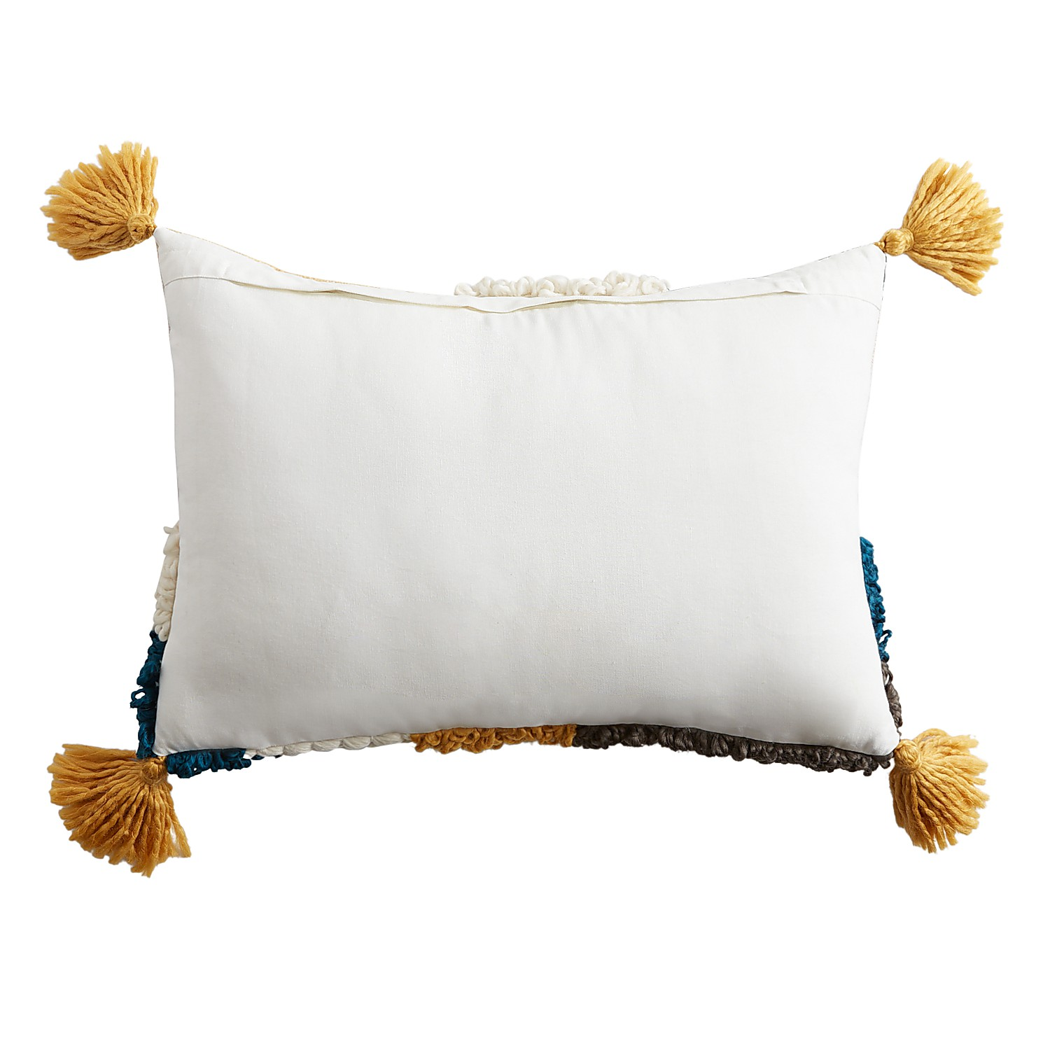 Abstract Tufted Lumbar Pillow with Tassels
