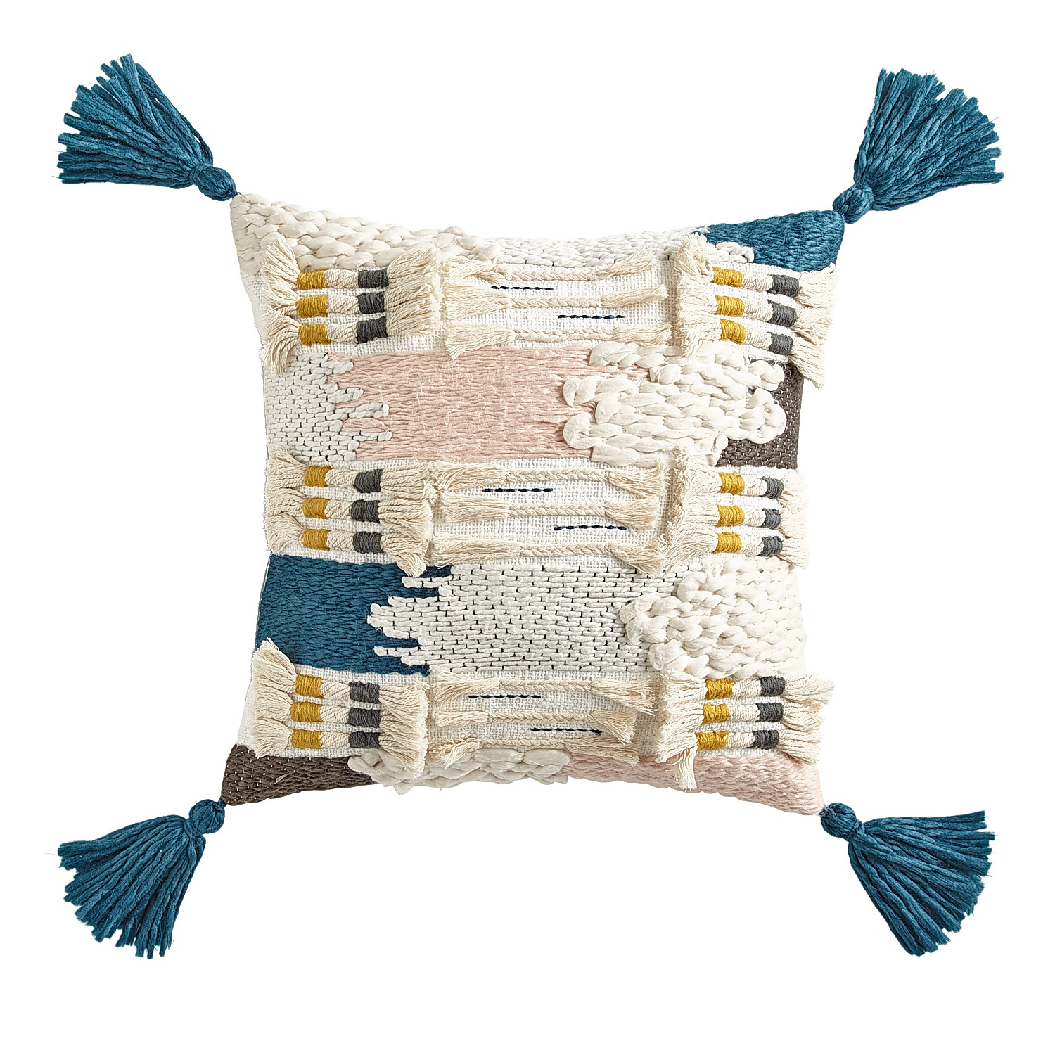 Abstract Tufted Pillow with Tassels