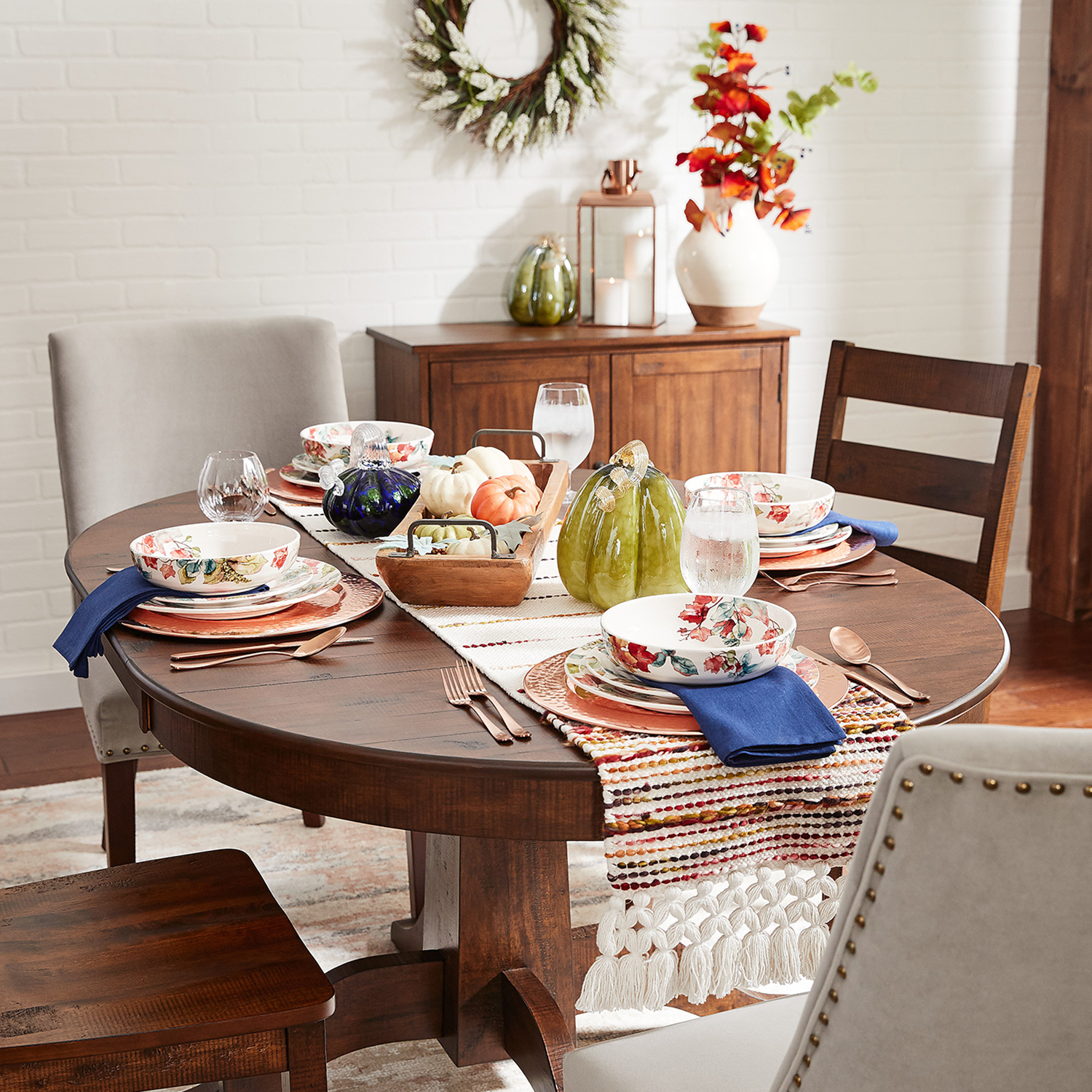 """72"""" Hooked Mundo Table Runner with Tassels"""