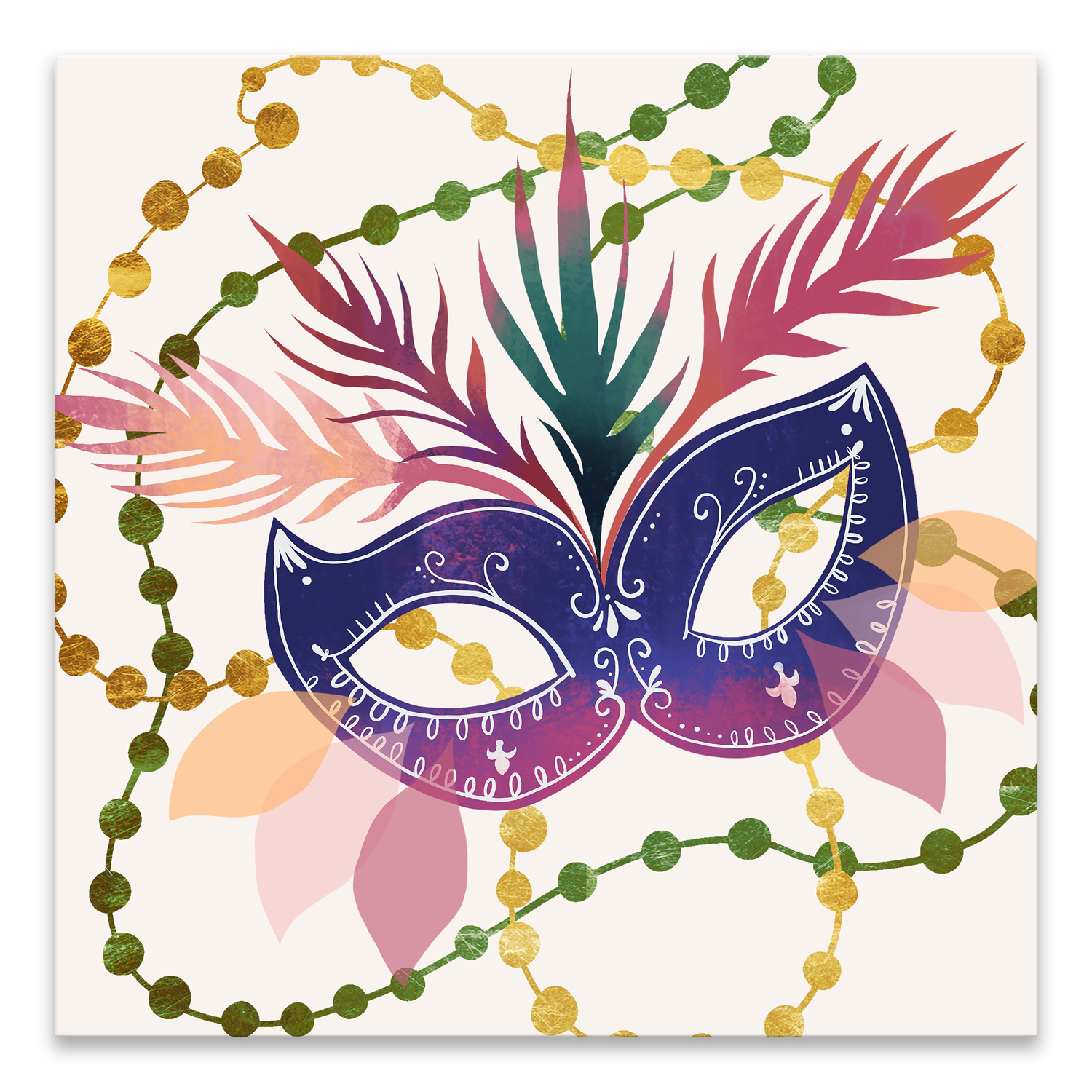 Mask & Beads Printed Canvas Art