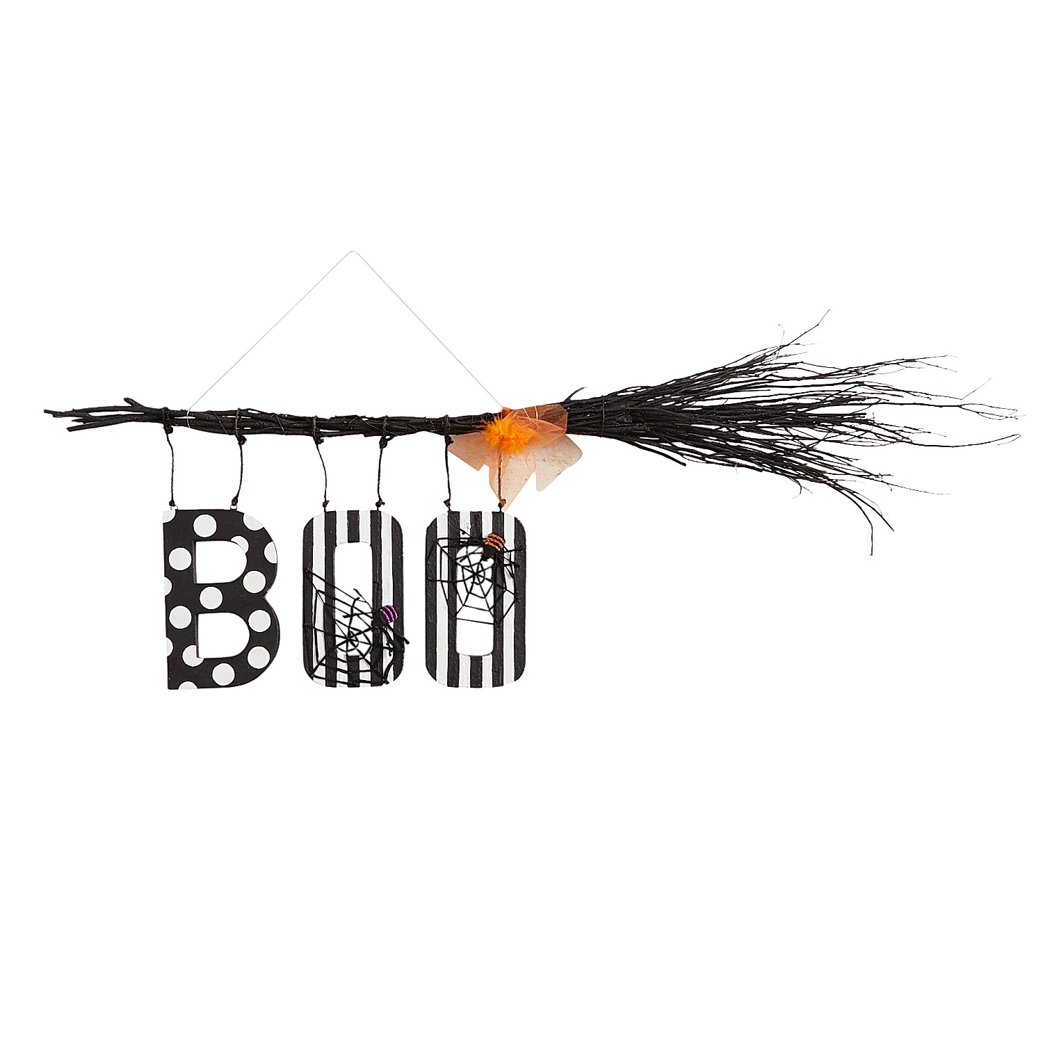 Witch Broom with Boo Halloween Decor