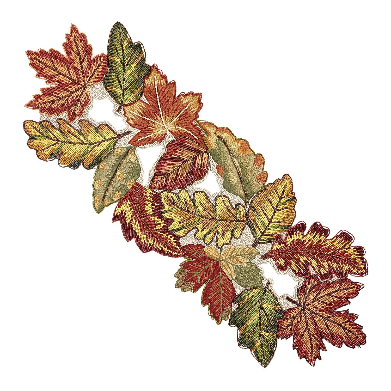 """35"""" Beaded Leaves Harvest Table Runner"""