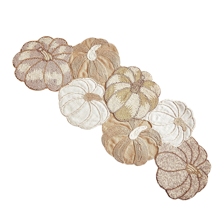 """35"""" Beaded Neutral Pumpkins Harvest Table Runner"""