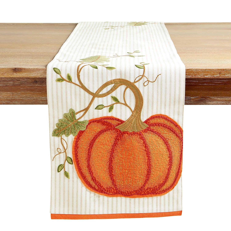 "72"" Embroidered Pumpkin Stripe Harvest Table Runner"