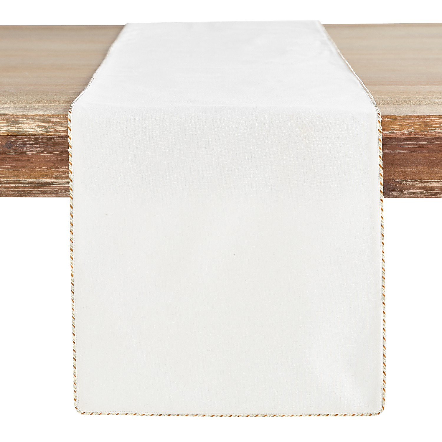 """72"""" Winter White 72"""" Table Runner with Copper Trim"""