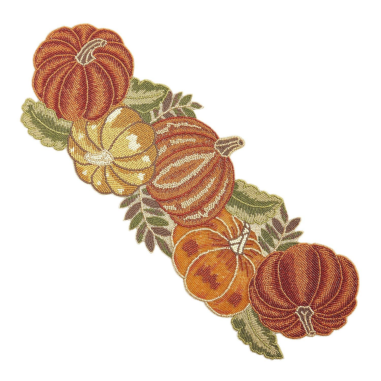 "35"" Beaded Traditional Pumpkin Harvest Table Runner"