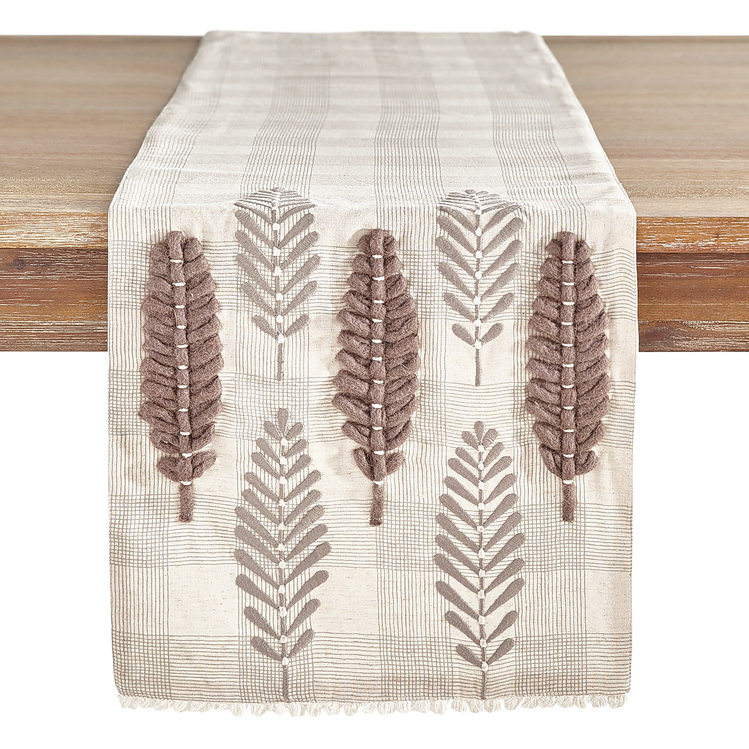 """72"""" Embroidered Gray Leaves Plaid Table Runner"""