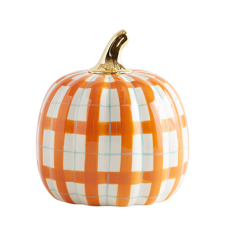 Plaid Ceramic Pumpkin