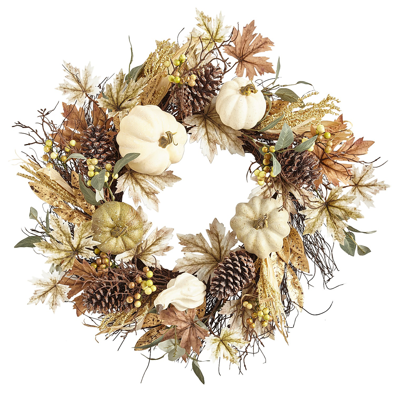 "22"" Faux Pumpkins & Leaves Wreath"