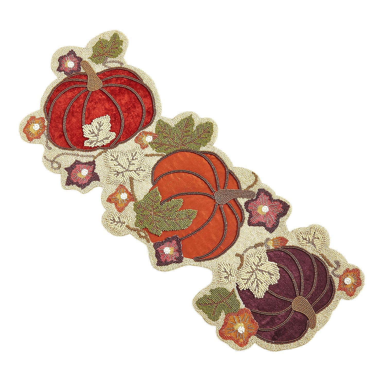 """35"""" Beaded Velvet Pumpkins Harvest Table Runner"""