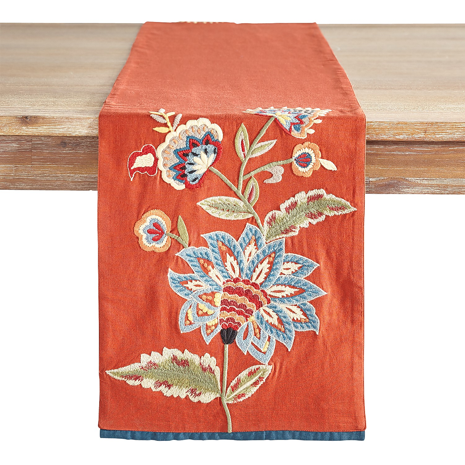 """72"""" Embroidered Jacobean Brick Table Runner"""