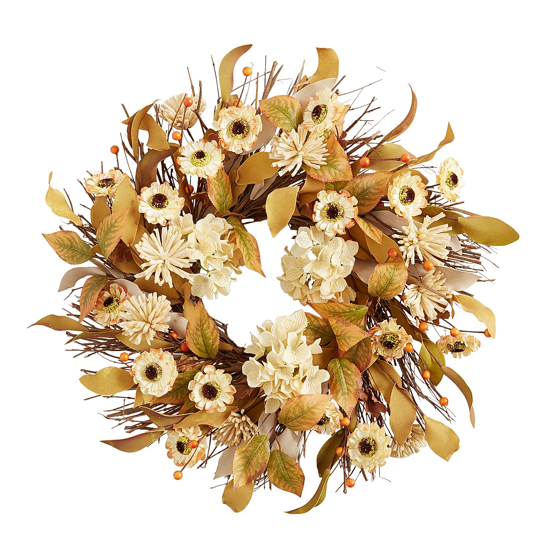 "20"" Fall Faux Sunflower Wreath"