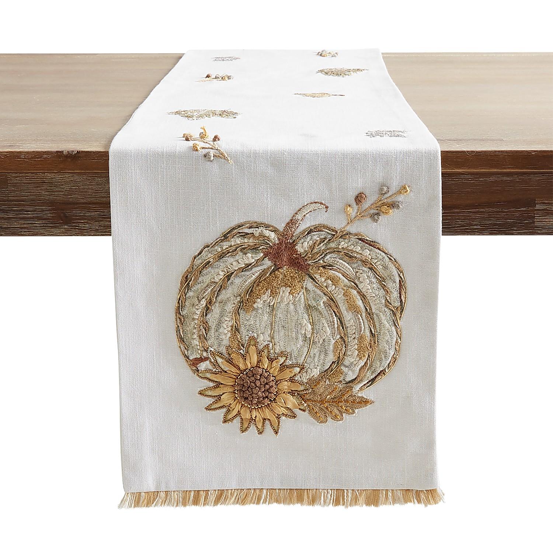 """72"""" Embroidered Harvest Golden Table Runner"""