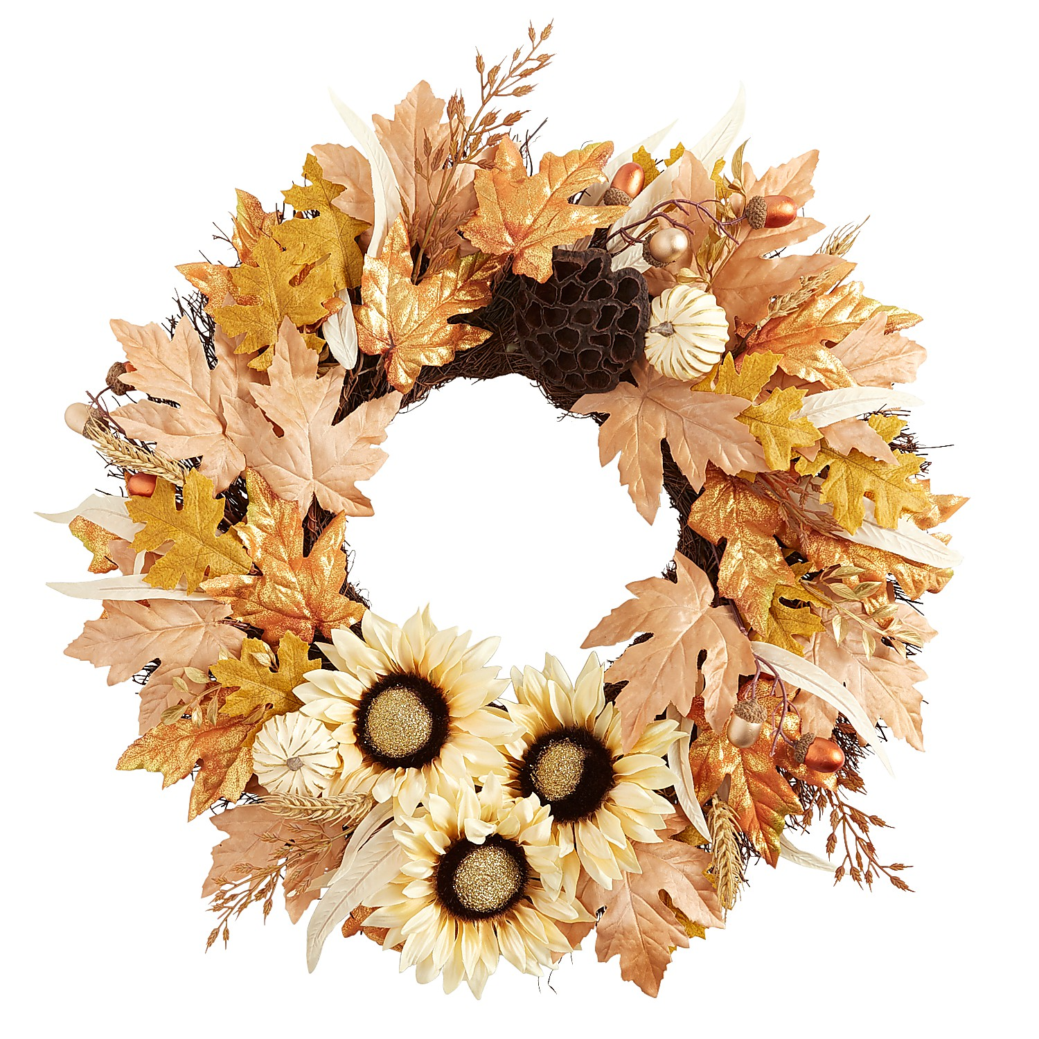 """22"""" Fall Faux Sunflowers & Pumpkins Wreath with Lotus Pod"""