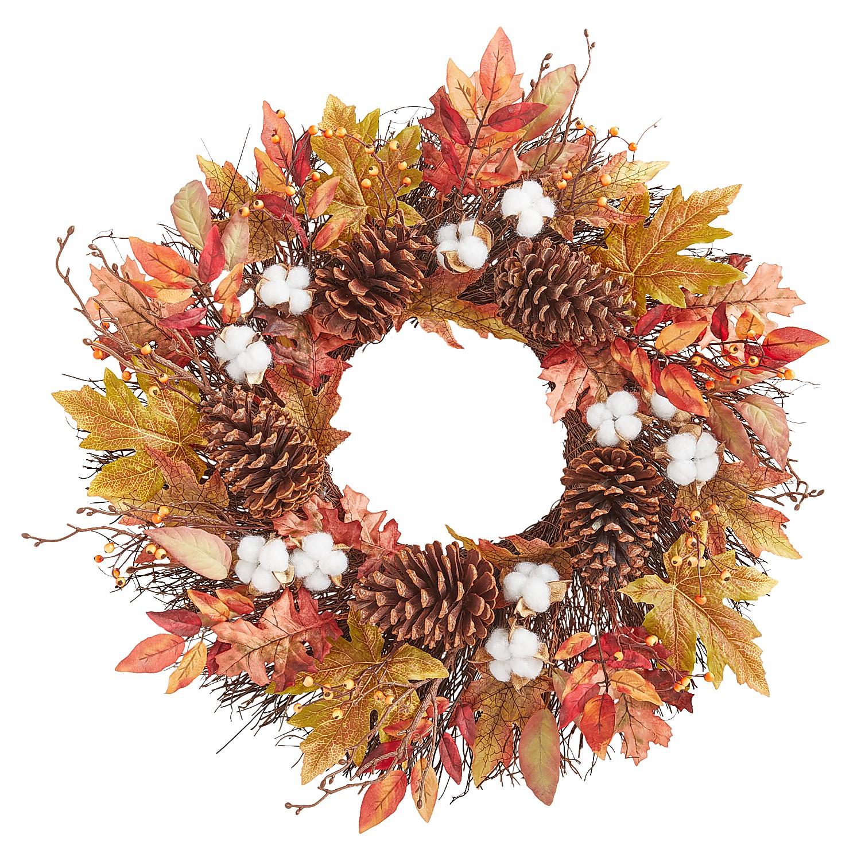 "22"" Fall Cotton & Pinecones Wreath"