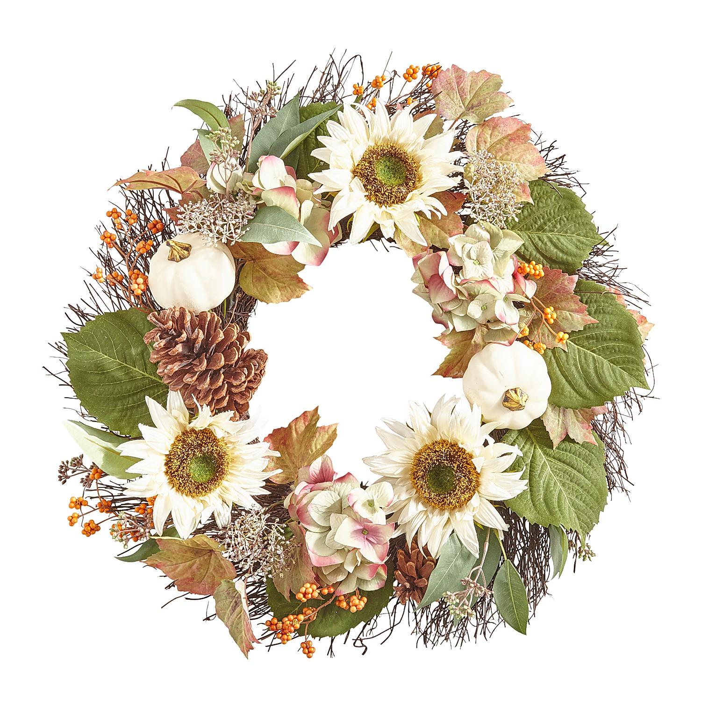 "20"" Cream Fall Faux Sunflower & Pumpkins Wreath"