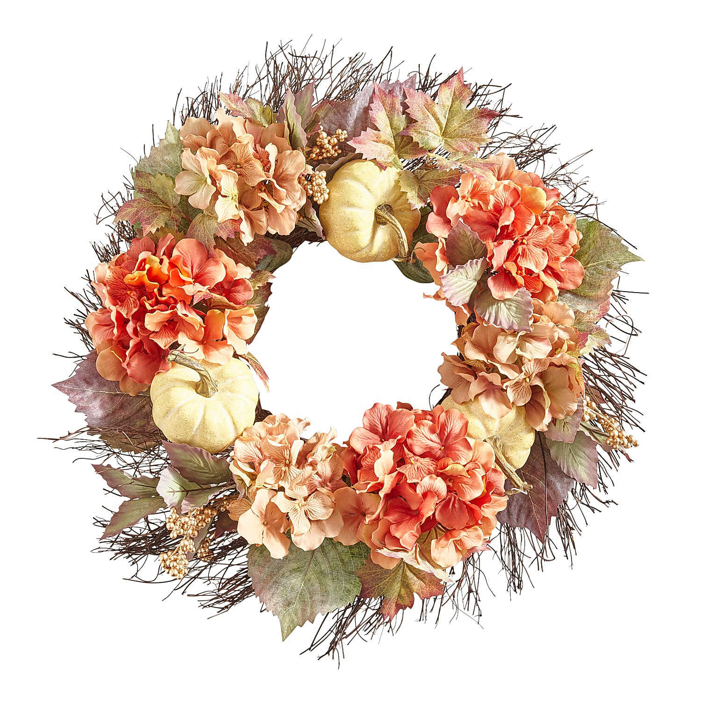 "22"" Fall Faux Hydrangea & Pumpkins Wreath"