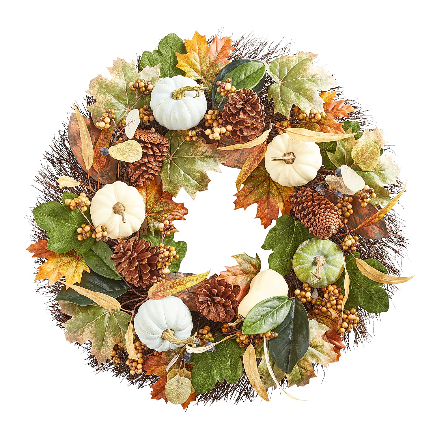 "26"" Ivory Faux Gourds Fall Wreath"
