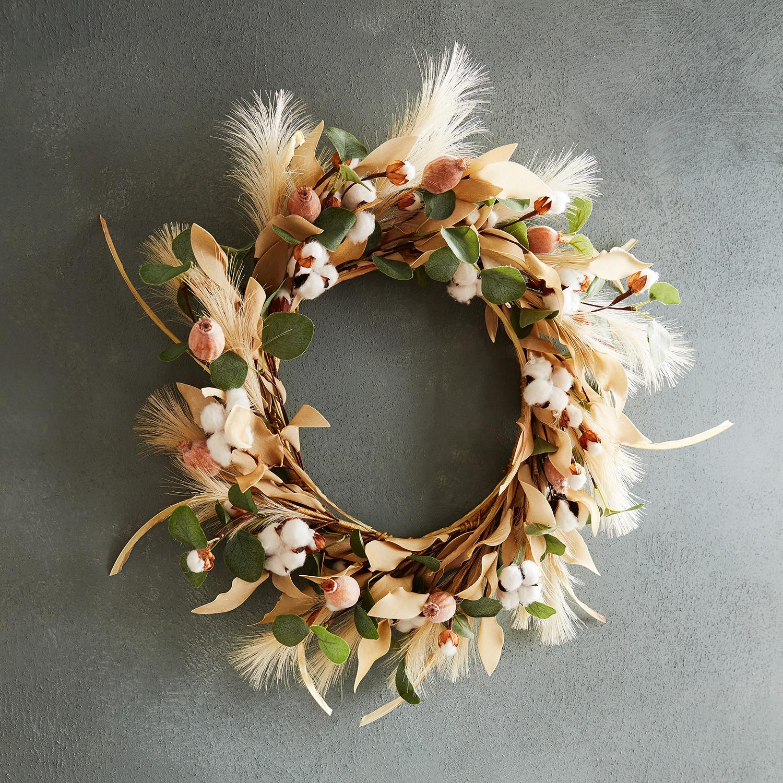 "20"" Cotton & Wheat Wreath"