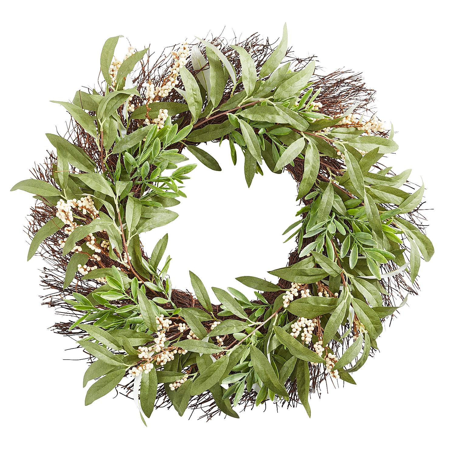 """22"""" Faux Olive Leaves & Berries Wreath"""
