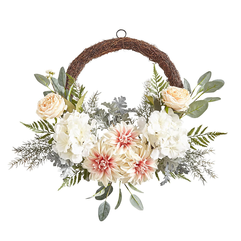 """22"""" Blush Faux Dahlia Asymmetrical Wreath"""