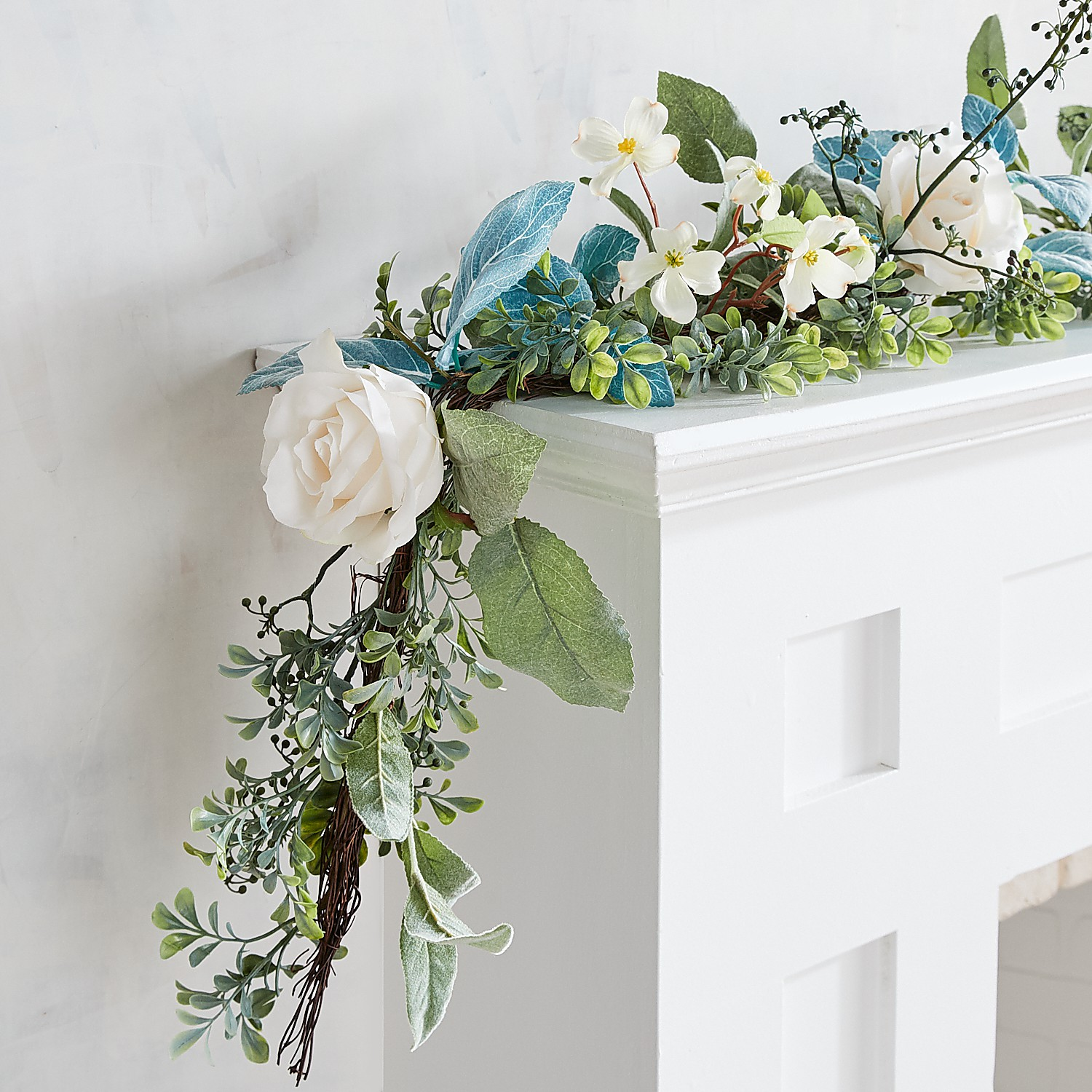 Fall White Faux Roses & Boxwood 6' Garland