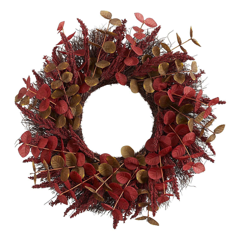 "22"" Faux Red Eucalyptus Wreath"