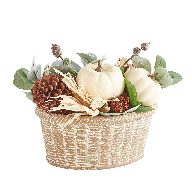 White Faux Pumpkins & Cornhusks Arrangement