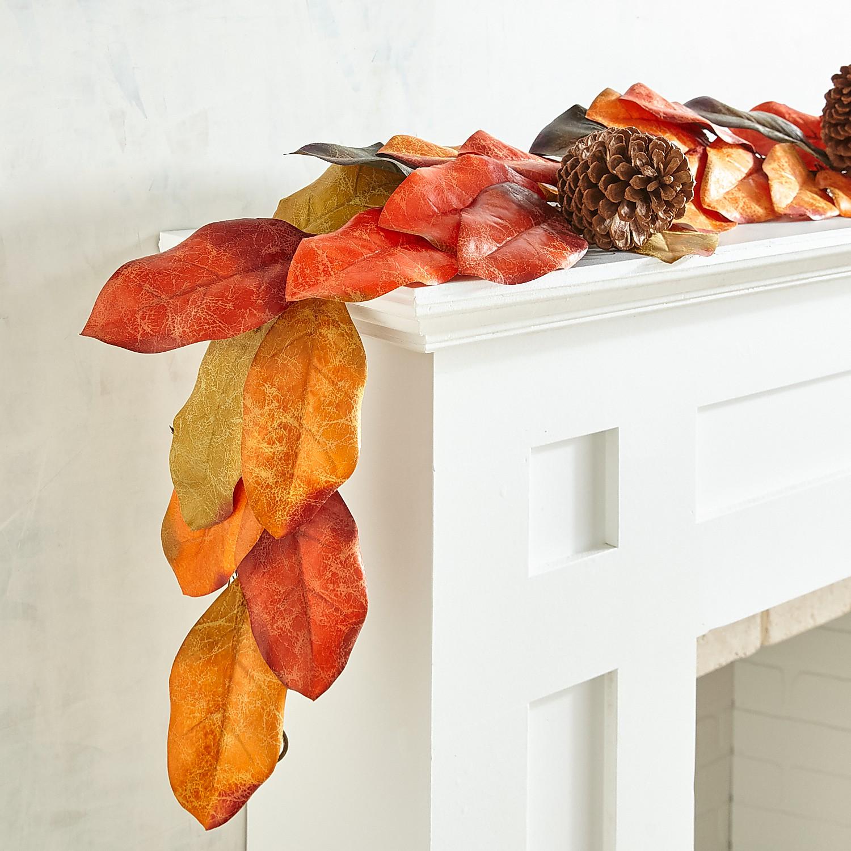 Fall Faux Magnolia Leaves 6' Garland