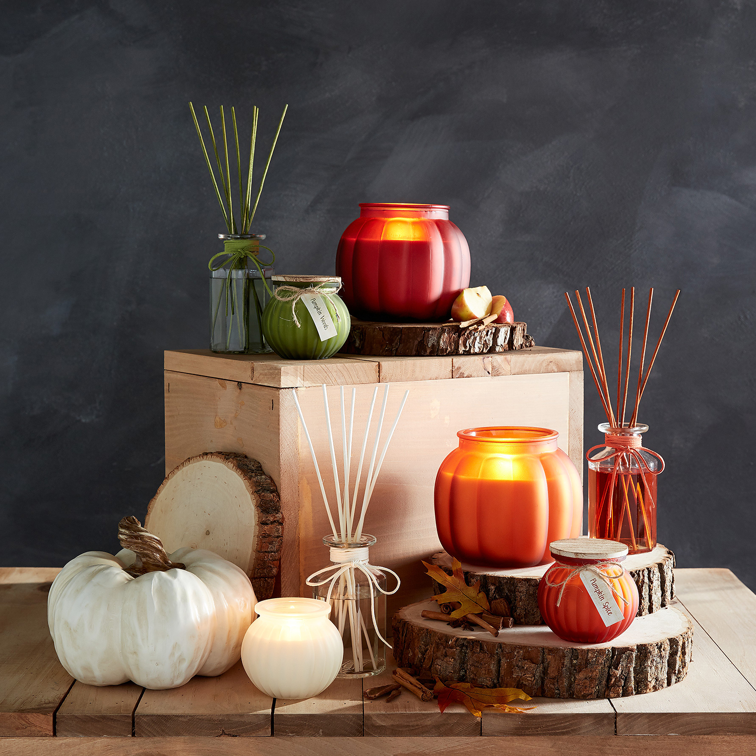 White Pumpkin Filled Candle