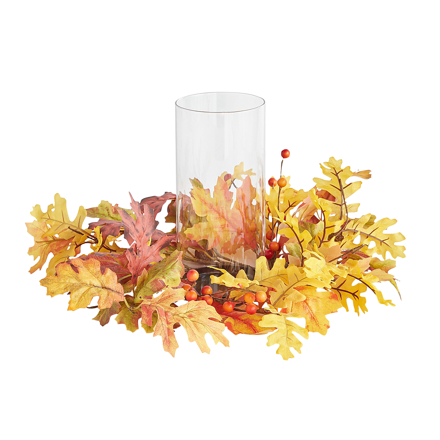 Faux Oakberry Harvest Hurricane Candle Holder