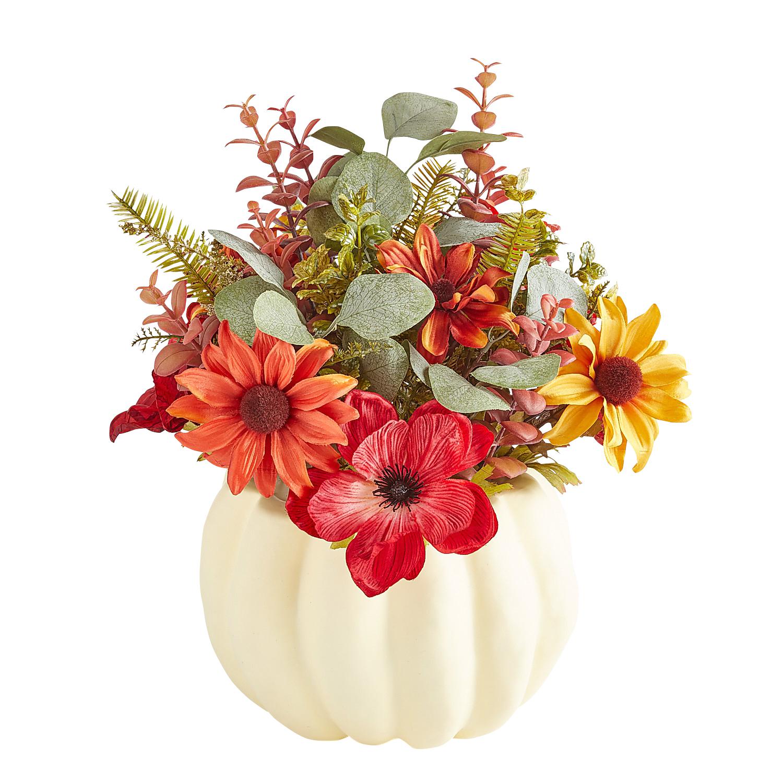 Fall Faux Floral Arrangement in Pumpkin