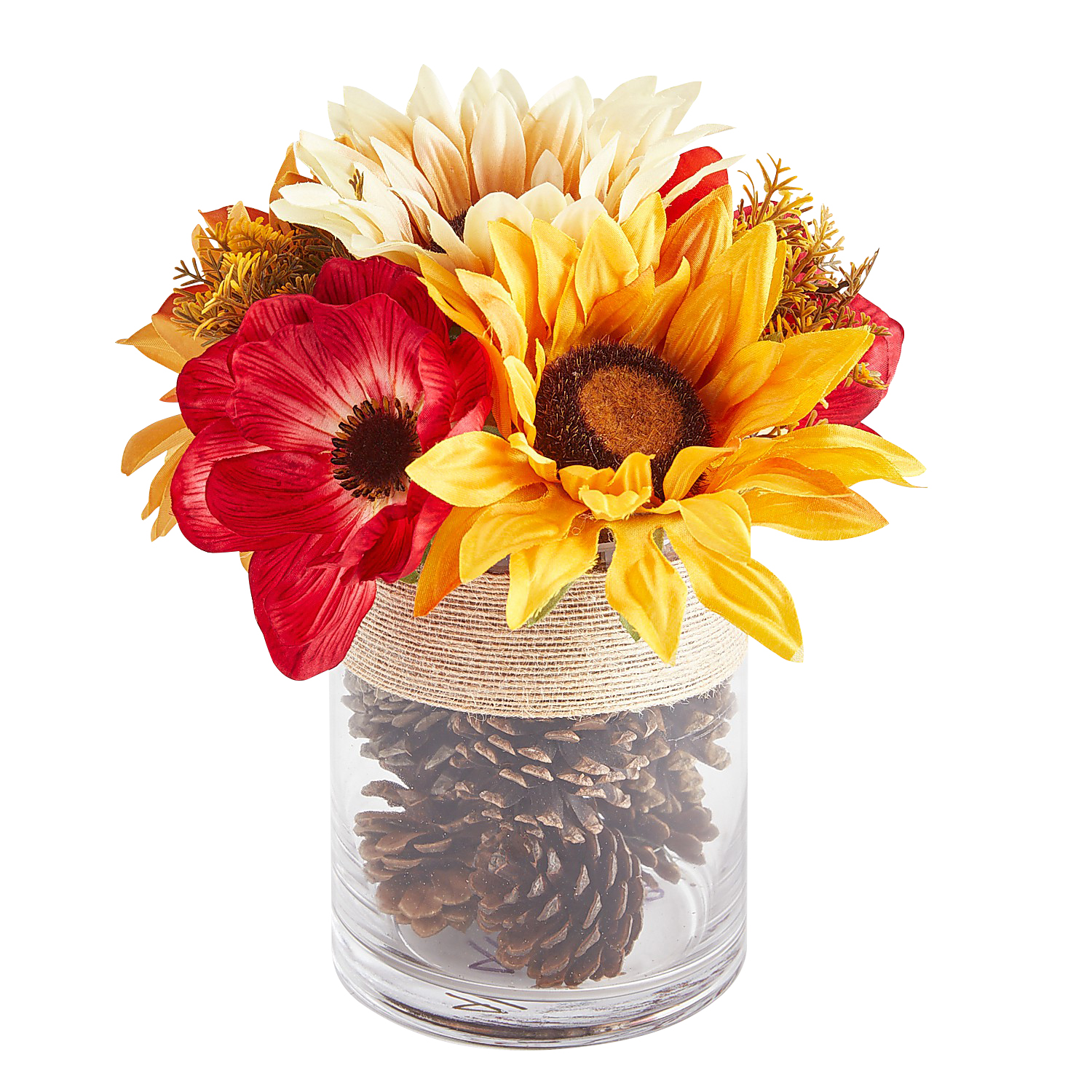 Fall Faux Sunflower Arrangement Filled with Pinecones