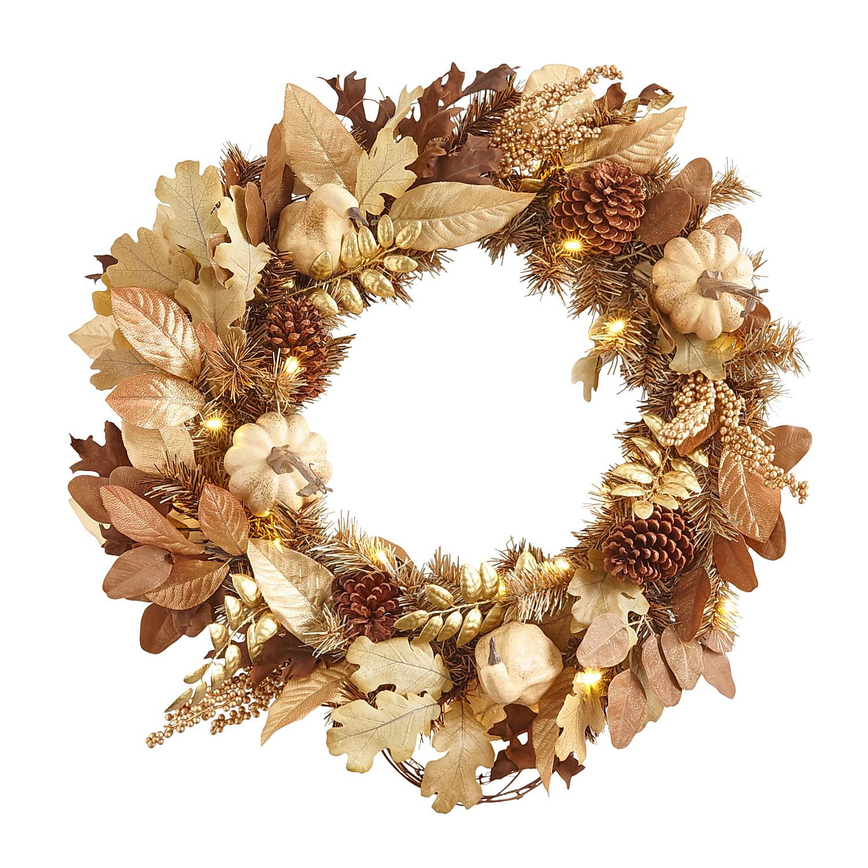 """LED Pre-Lit 26"""" Cream Fall Faux Gourds Wreath"""