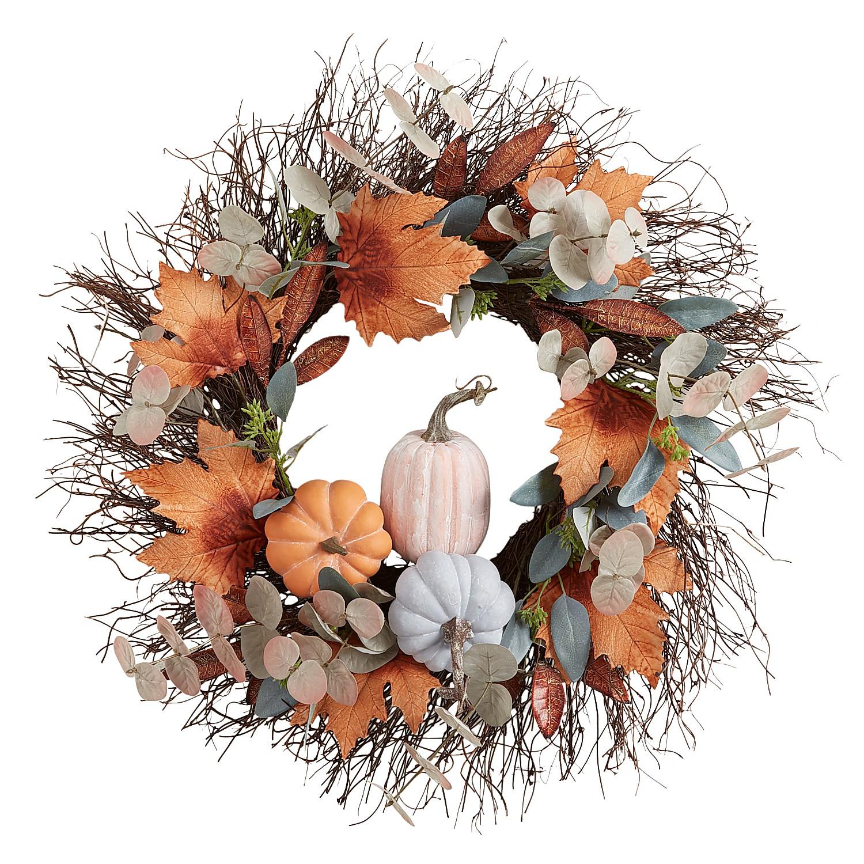 """22"""" Blue Faux Pumpkins & Eucalyptus Wreath"""