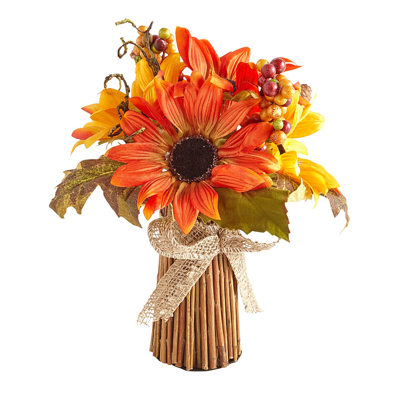 Fall Faux Sunflower & Berries Stick Bundle