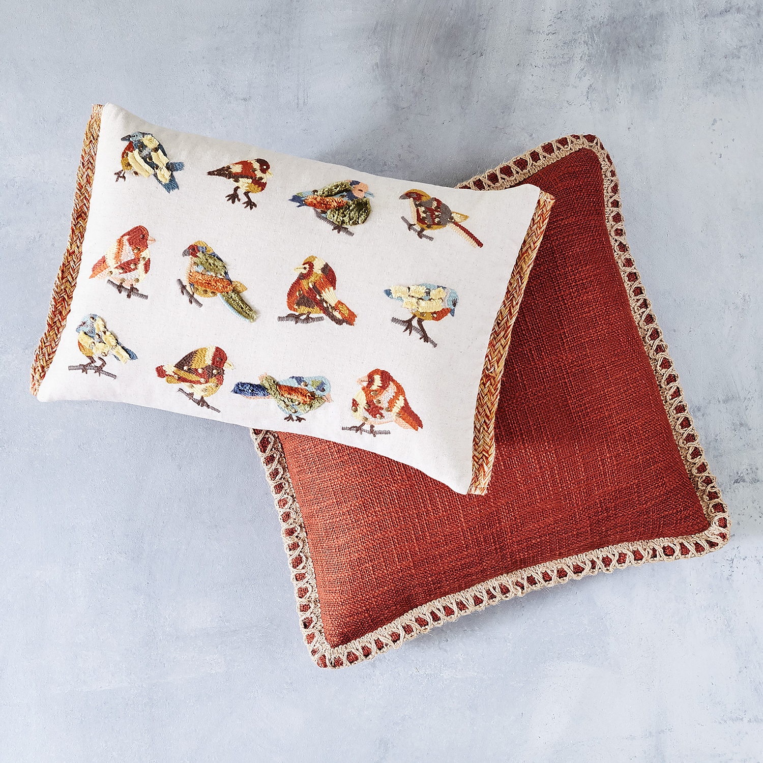 variation thumbnail of Embroidered Little Birds Lumbar Pillow