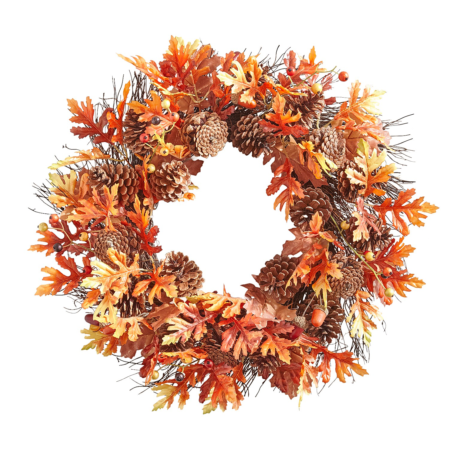 "22"" Fall Leaves & Pinecones Wreath"