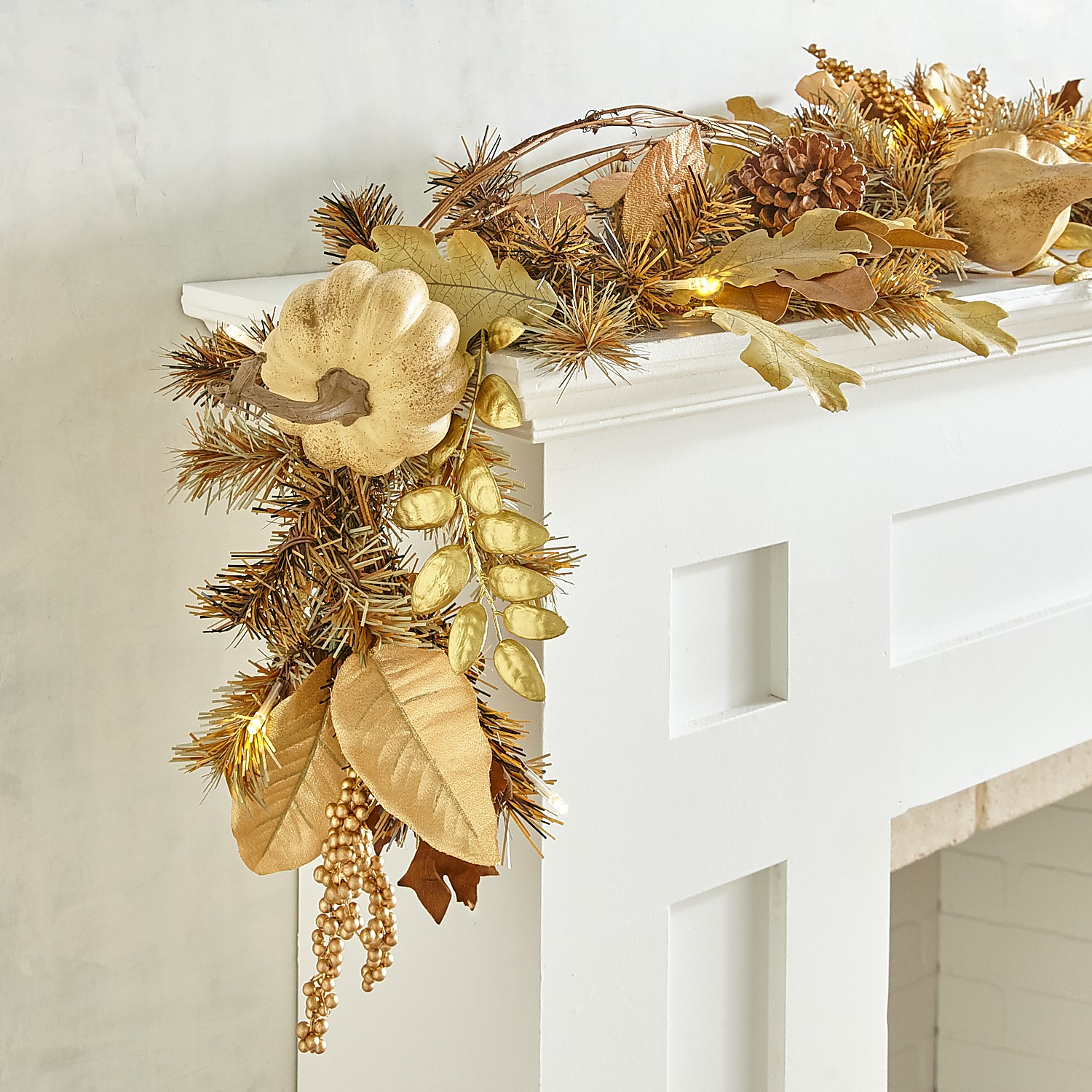 LED Pre-Lit Cream Fall Faux Gourds 6' Garland