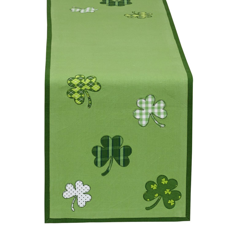 "Patterned St. Patrick's Green 54"" Table Runner"
