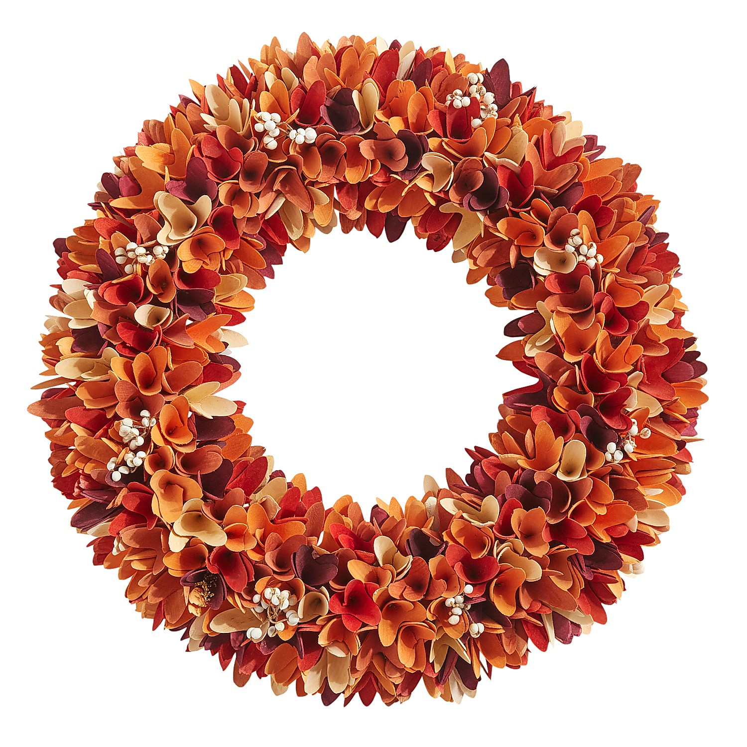 """21"""" Fall Wood Curl Wreath with Berries"""