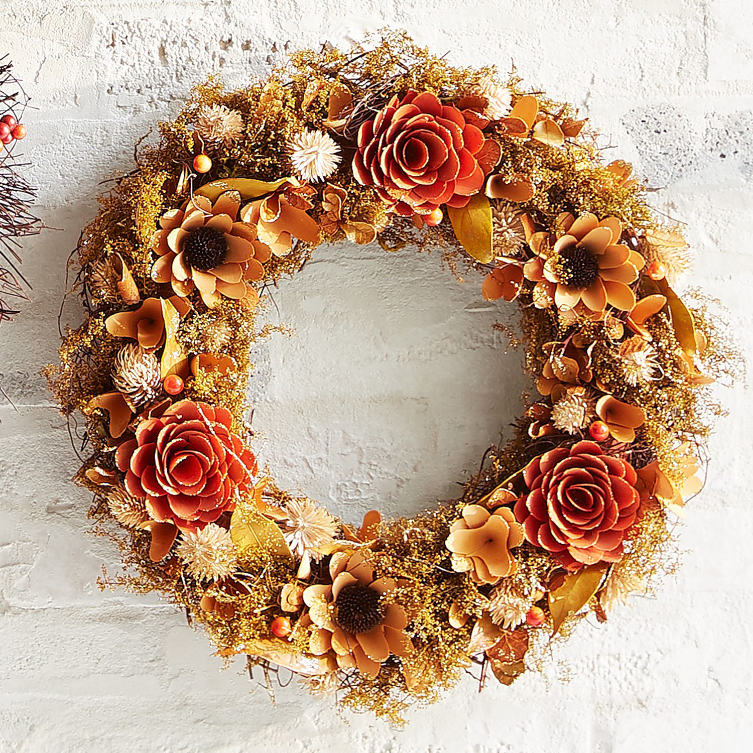 """20"""" Wood Curl Wreath with Sunflowers"""
