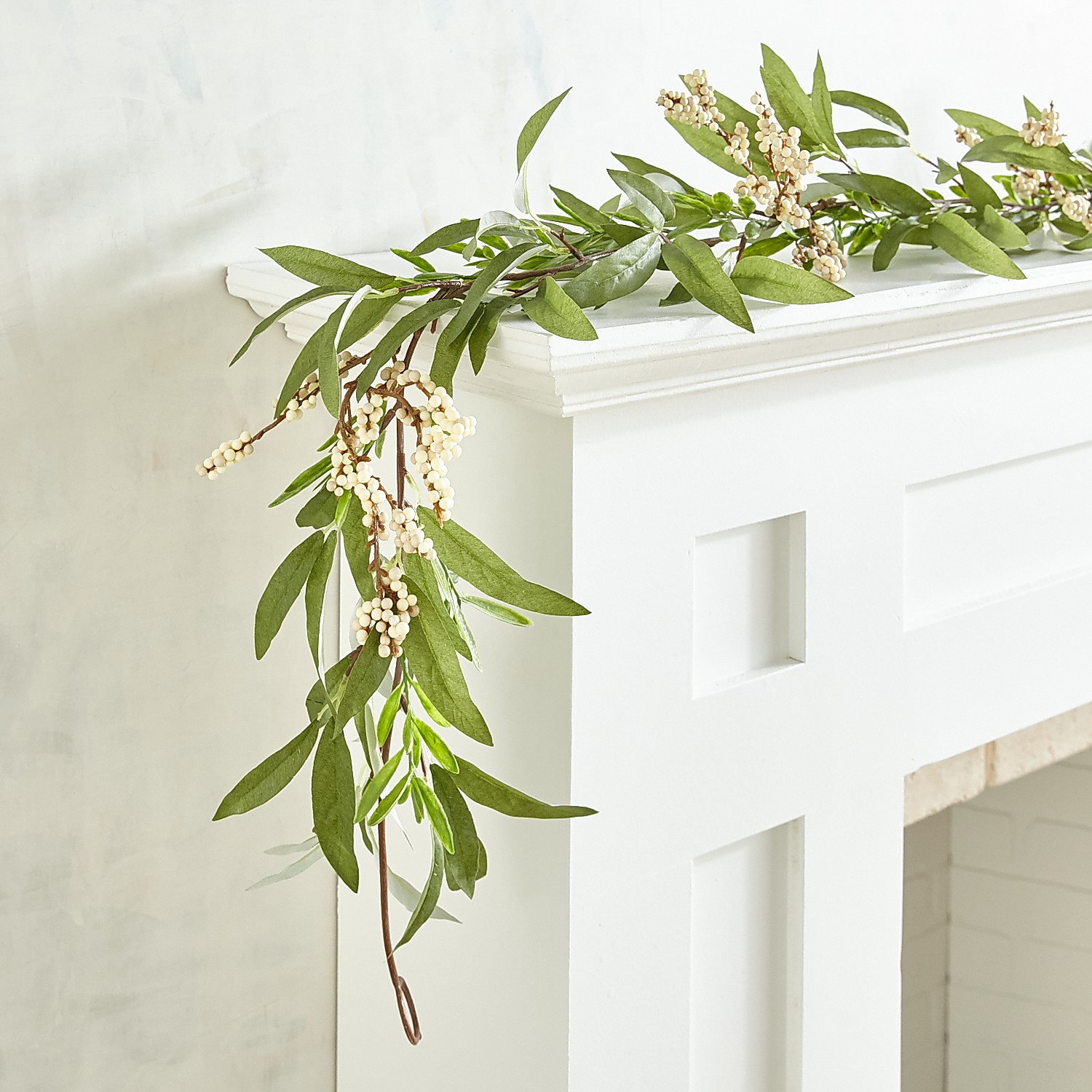 Faux Olive Leaves & Berries 6' Garland