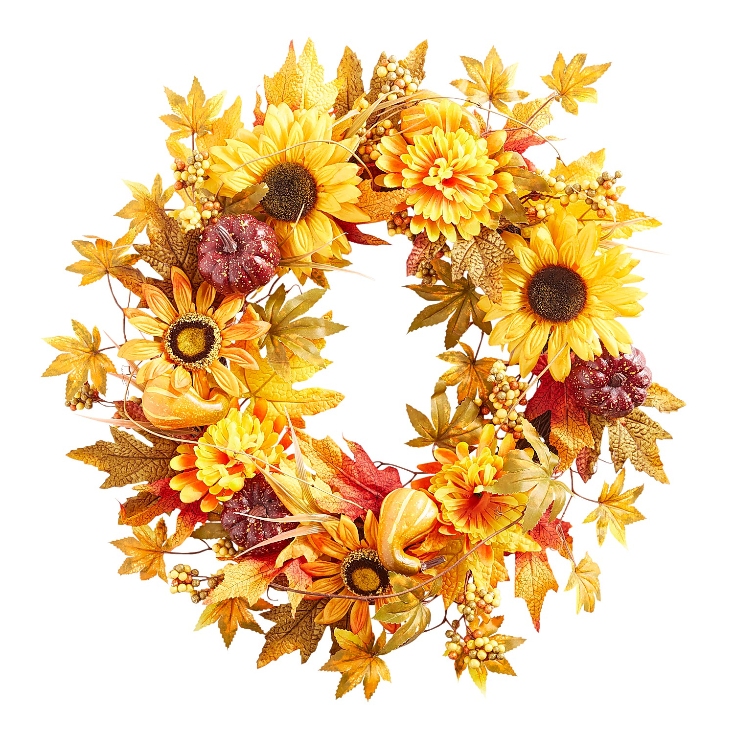 "21"" Fall Faux Sunflowers & Leaves Wreath"