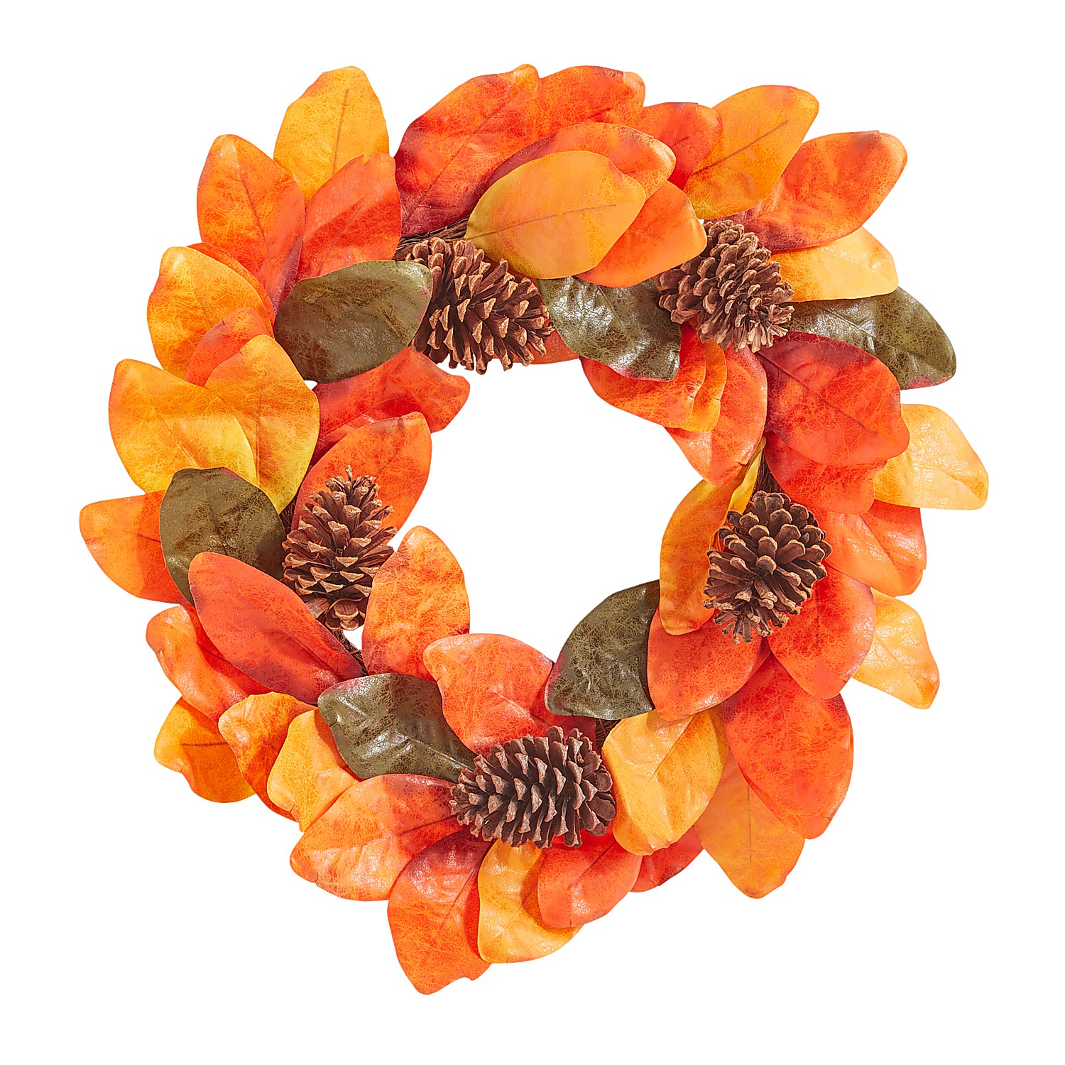 "22"" Faux Magnolia Leaves & Pinecones Wreath"