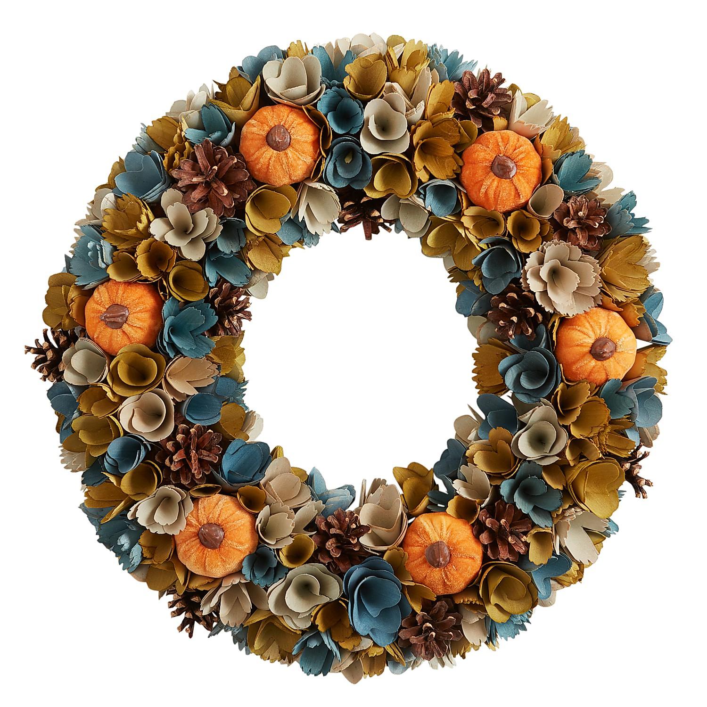 "19"" Wood Curl Pumpkins Wreath"