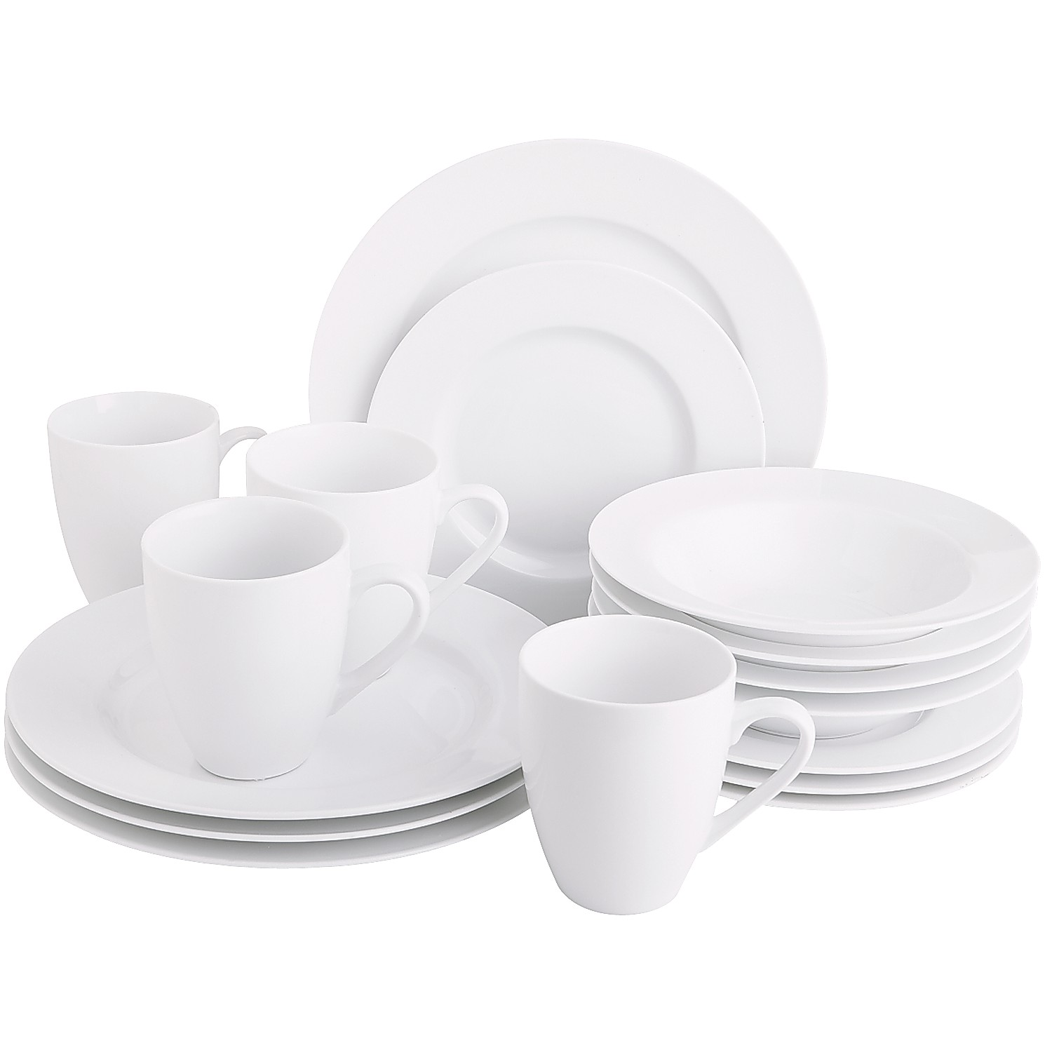 Luminous 16-Piece White Dinnerware Set