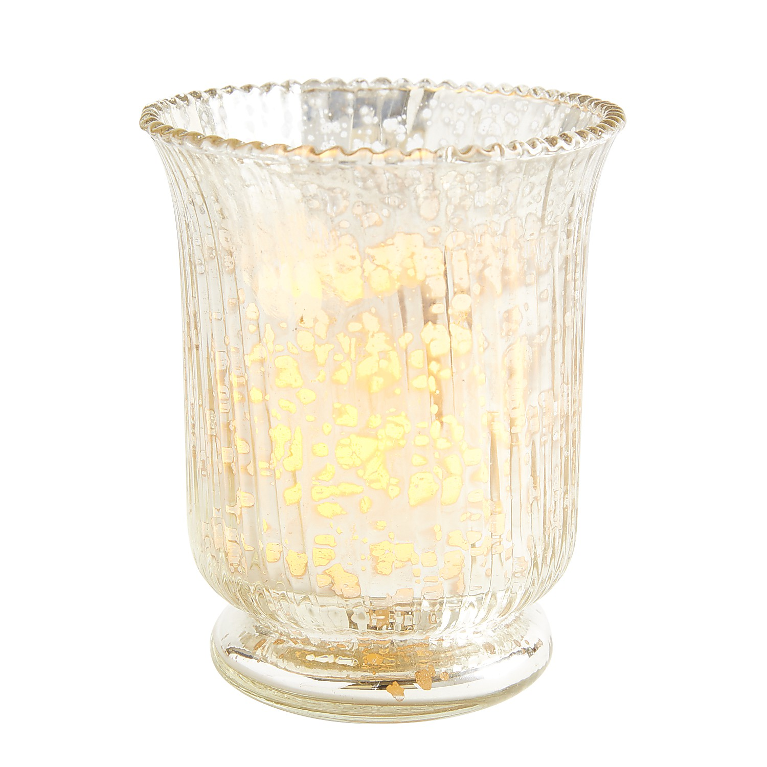 Silver Mercury Glass Fluted Tealight Candle Holder