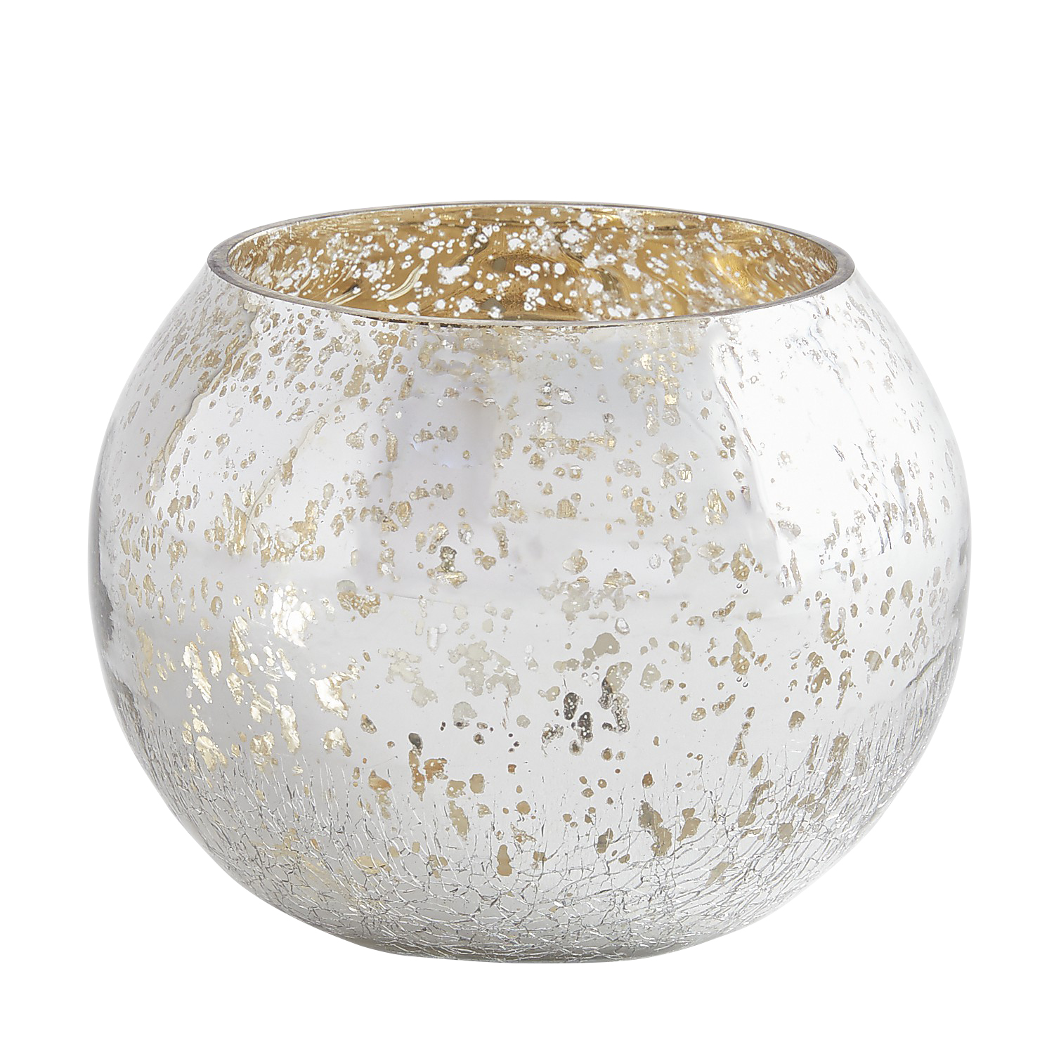 Silver Mercury Glass Round Tealight Candle Holder